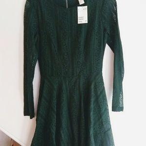 H&M Green Lace Mini Dress NWT